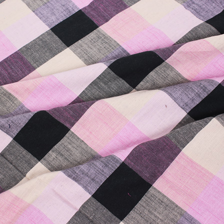 Off White-Black and Light Pink Large Slub Checks Handloom Cotton Khadi Fabric-40042