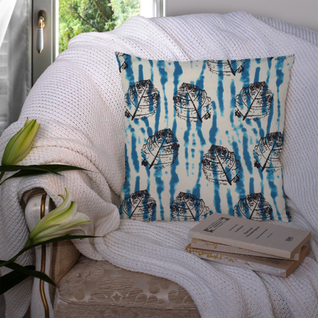 Off White-Blue and Black Cotton Cushion Cover-35037