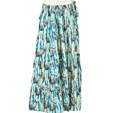 Off White-Blue and Black Leaf Design  Block Print Cotton Long Skirt-23066