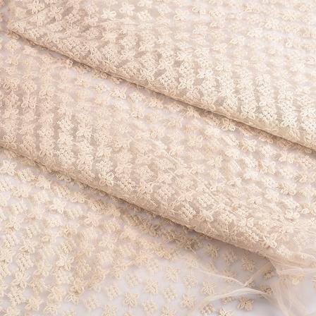White Flower Sequin Net Fabric-60669