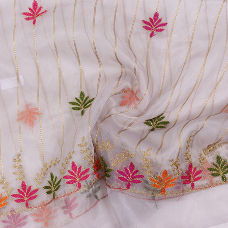 Off White-Golden and Green Organza Embroidery Fabric-51427
