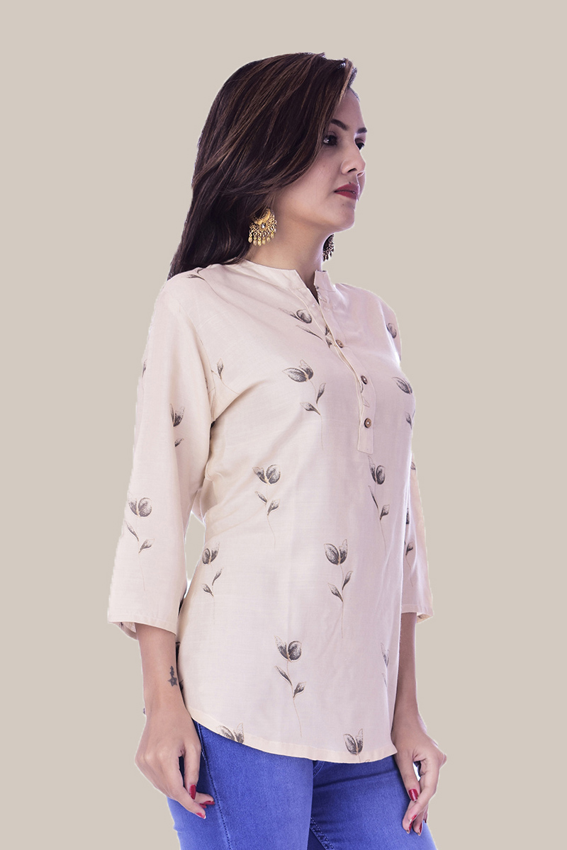 Off White Gray Floral 3/4 Sleeve Cotton Women Top-34022