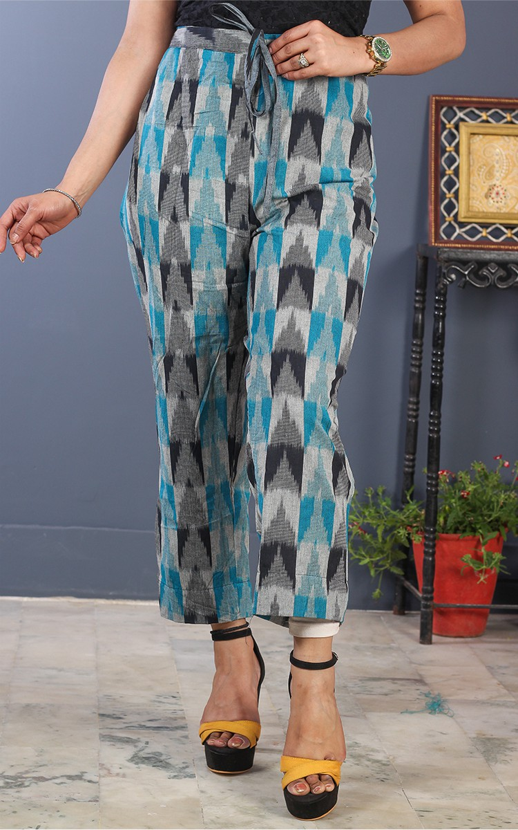 Off White Gray and Cyan Cotton Ikat Ankle Women Pant-34696