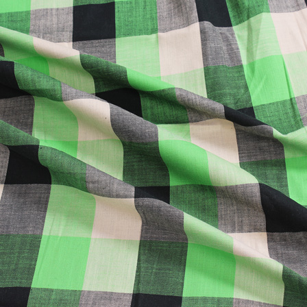 Off White-Green and Black Large Slub Checks Handloom Cotton Khadi Fabric-40043