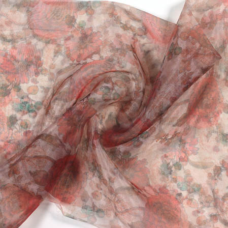 Off White Red Digital Floral Organza Silk Fabric-51811