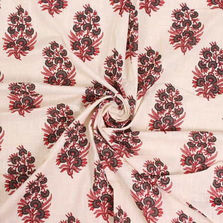 Off White-Red and Black Floral Cotton Block Print Fabric-14577