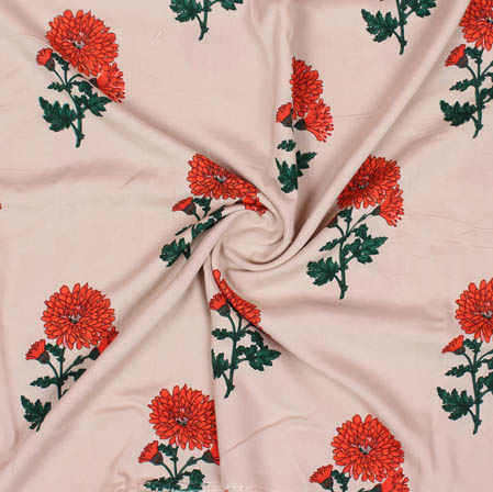 Off White Red and Green Block Print Cotton Fabric-14951