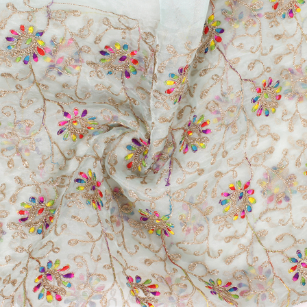 Off White-Yellow and Golden Flower Organza Embroidery Fabric-51446