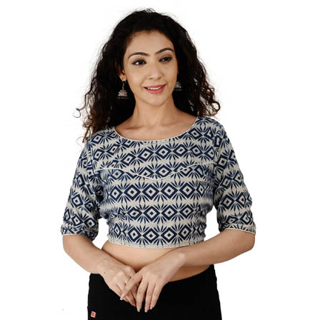 Off White and Blue Elbow Sleeve Cotton Indigo Blouse-30140