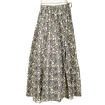Off White and Gray Floral Design  Block Print Cotton Long Skirt-23098