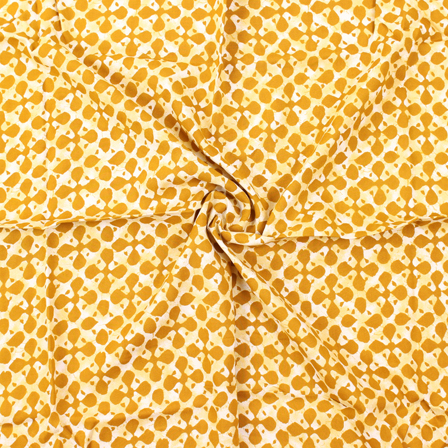 Off White and Yellow Unique Pattern Block Print Rayon Fabric-15050