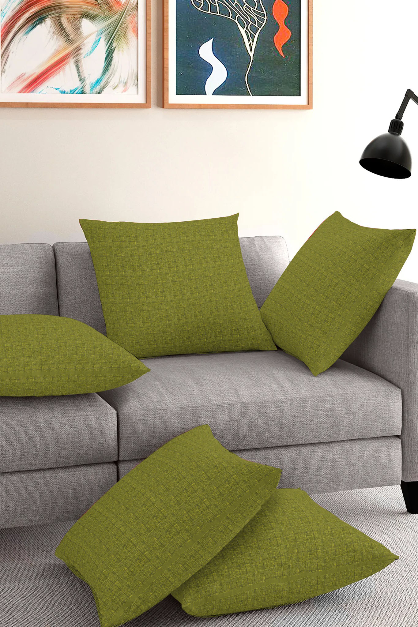 Set of 5-Olive Green Black Cotton Cushion Cover-35387-16x16 Inches