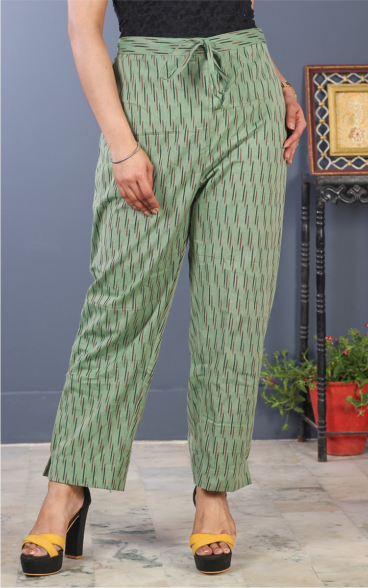Olive Green Black Cotton Ikat Ankle Women Pant-34689