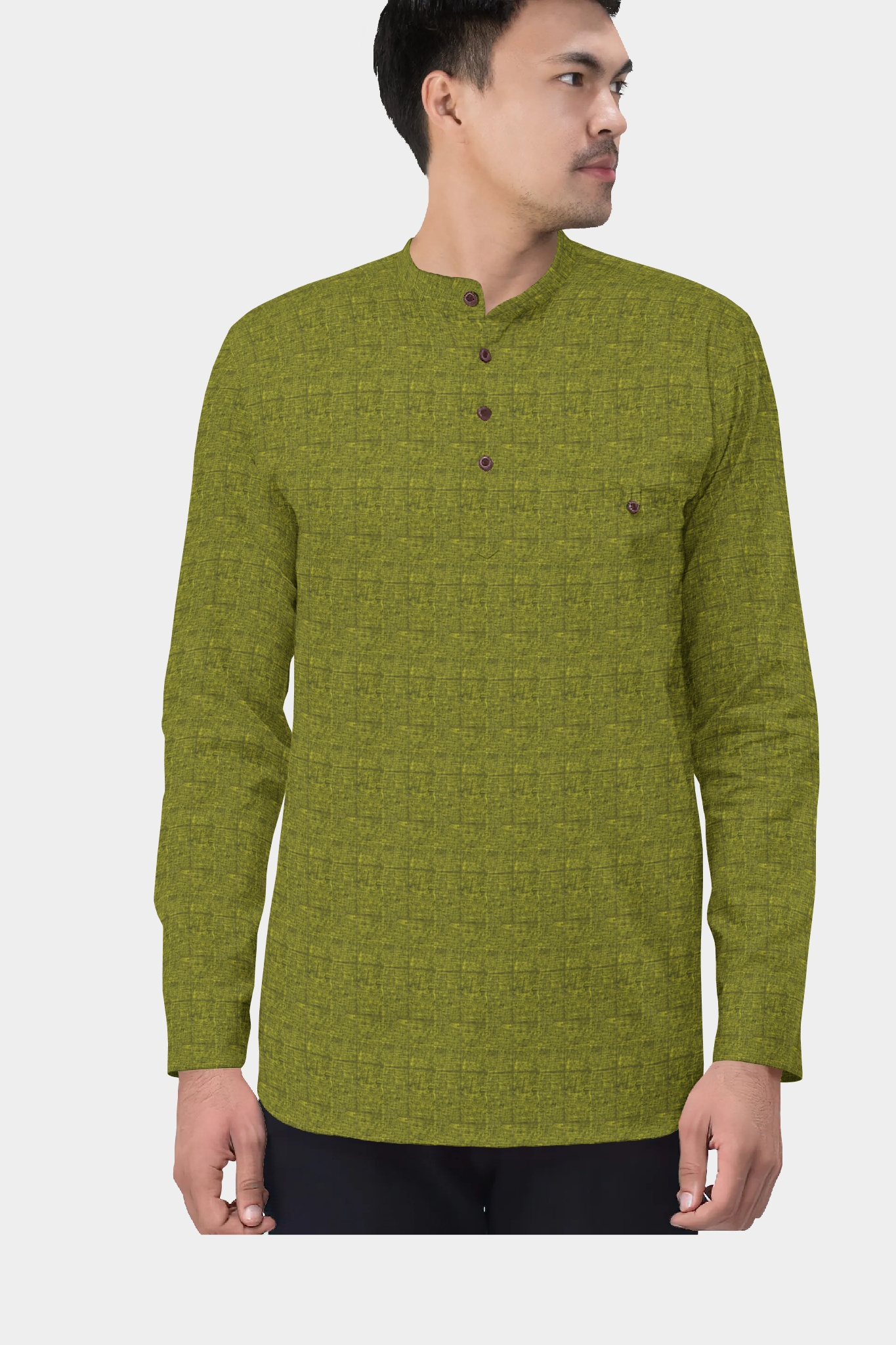 Olive Green Black Cotton Check Short Kurta-35431