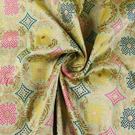 Olive Green Blue and Yellow Floral Banarasi Silk Fabric-9497