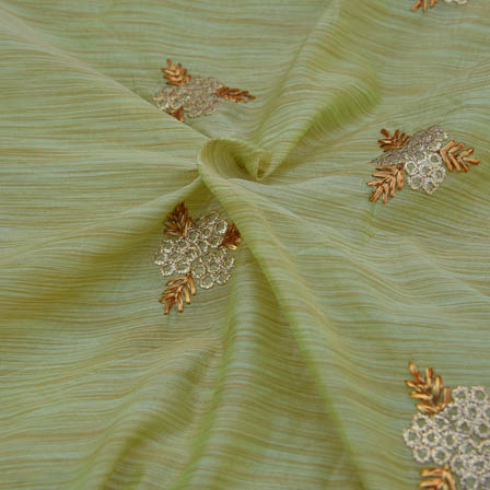 Olive Green Chanderi Silk Base Fabric With White and Gold Embroidery-60001