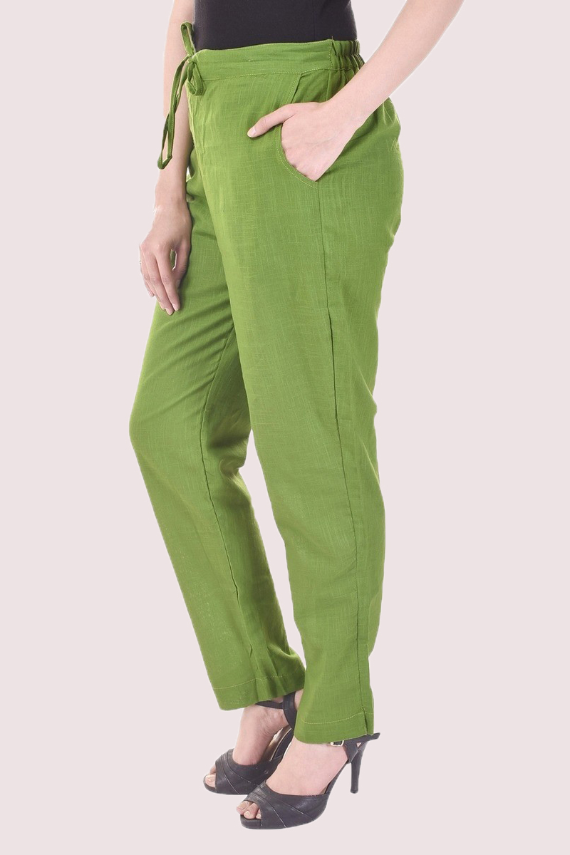Olive Green Cotton Slub Solid Women Pant-33295