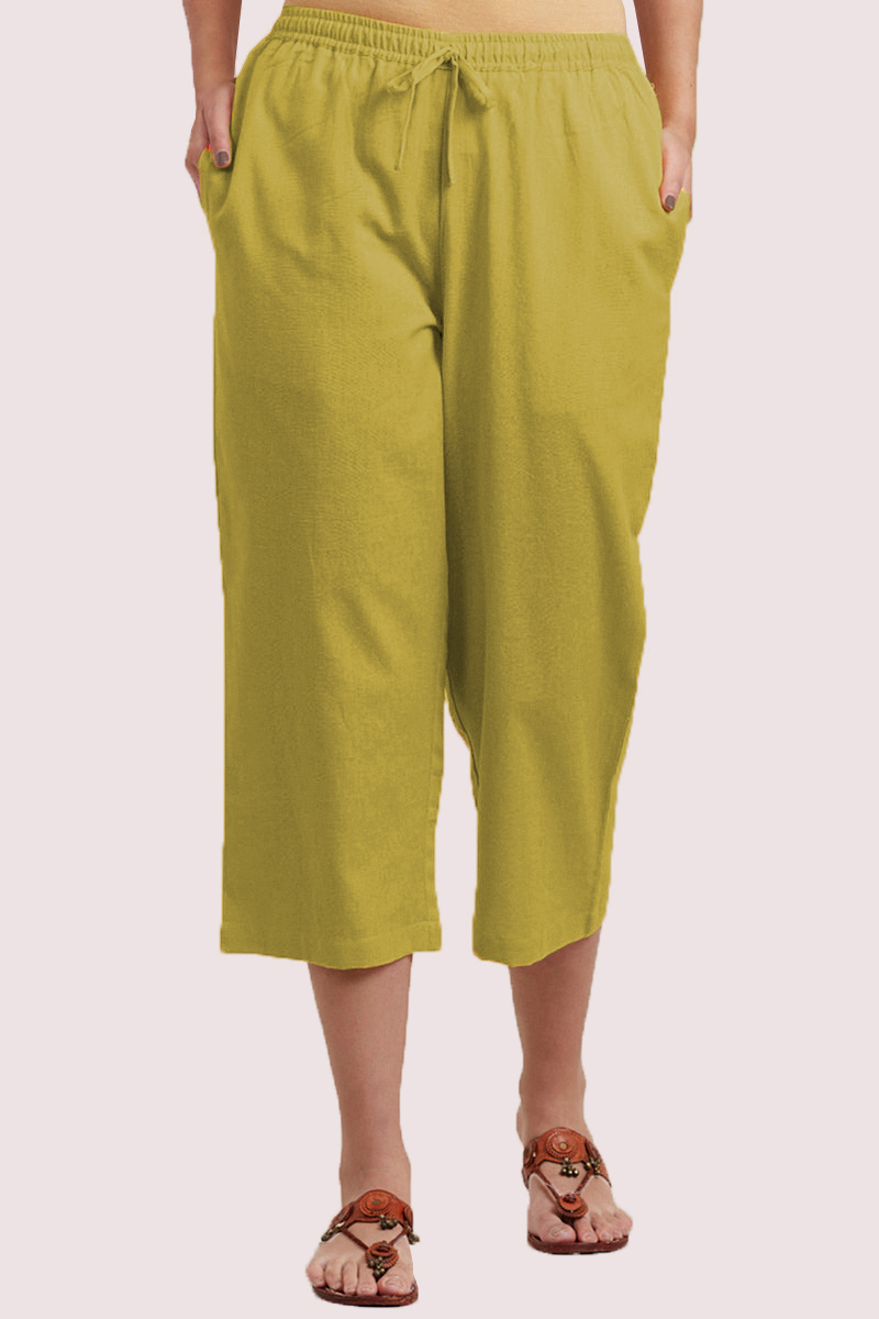 Olive Green Cotton Solid Women Culottes-33855