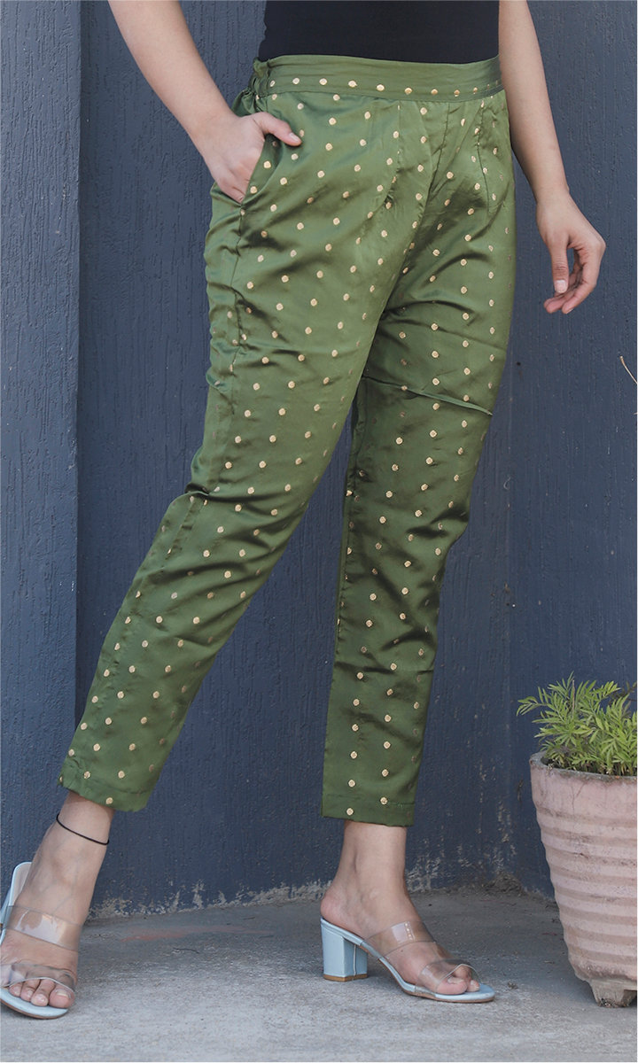 Olive Green Golden Brocade Silk Ankle Women Pant-34463
