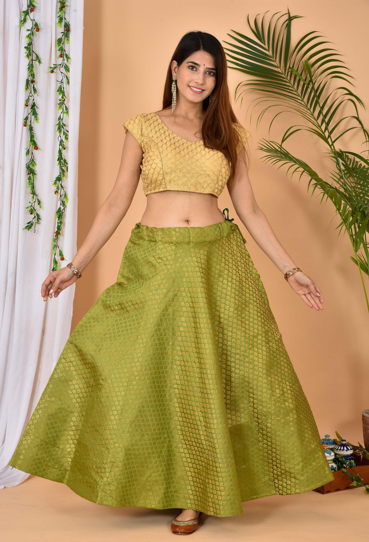Olive Green Golden Brocade Silk Wedding Lehenga-36982