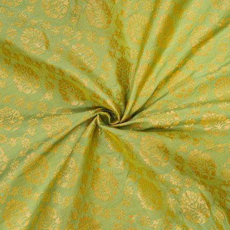 Olive-Green Golden Floral Brocade Silk Fabric-12580