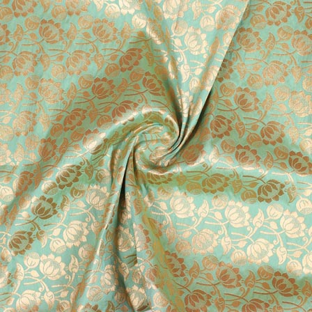 Olive Green Golden Floral Digital Banarasi Silk Fabric-9196