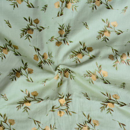 Olive Green Golden Floral Jam Cotton Fabric-15141