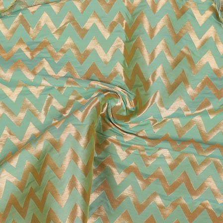 Olive Green Golden Ikat Banarasi Silk Fabric-9390