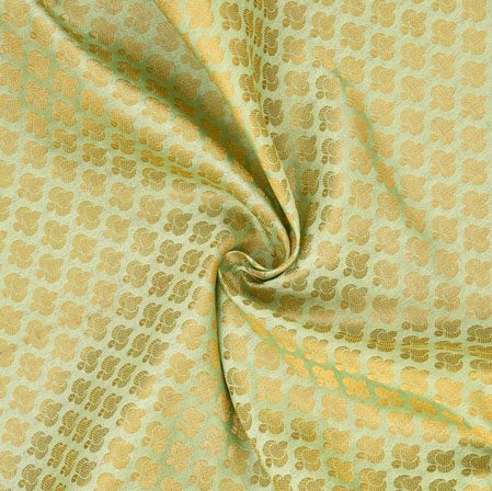 Olive-Green Golden Polka Chanderi Zari Silk Fabric-12599