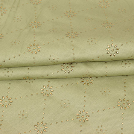 Olive Green Golden Polka Jam Cotton Fabric-15154