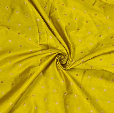 Olive-Green Golden Polka Zari Taffeta Silk Fabric-12634