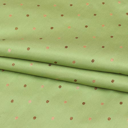 Olive Green Golden Zari Dot Brocade Silk Fabric-9247