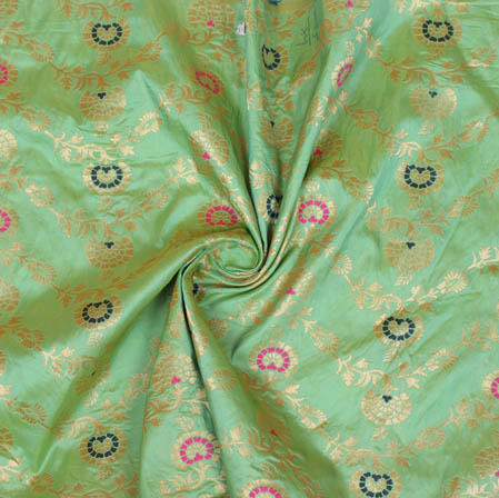 Olive Green Golden and Pink Floral Banarasi Silk Fabric-9396