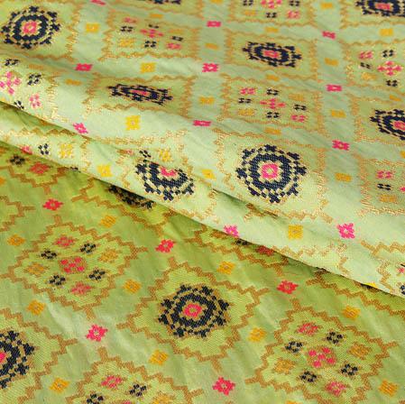 Olive Green Golden and Pink Floral Banarasi Silk Fabric-9452