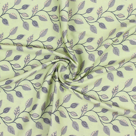 Olive Green Gray Floral Print Rayon Fabric-15272