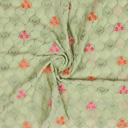 Olive Green Orange and Pink Floral Print Fox Georgette Embroidery Fabric-15291