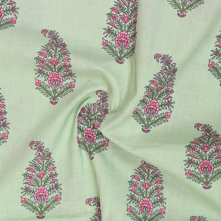Olive Green Pink Block Print Rayon Fabric-14900