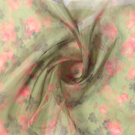Olive Green Pink Digital Floral Organza Silk Fabric-51824
