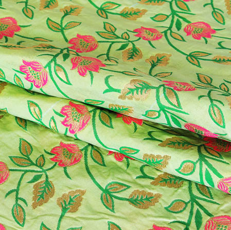 Olive Green Pink and Golden Floral Banarasi Silk Fabric-9423