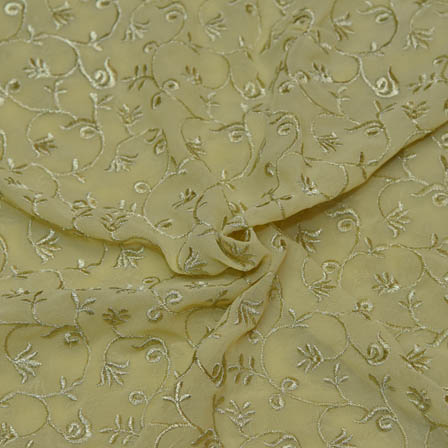 Olive Green Poly Georgette Base Fabric With Golden Leaf Embroidery-60047