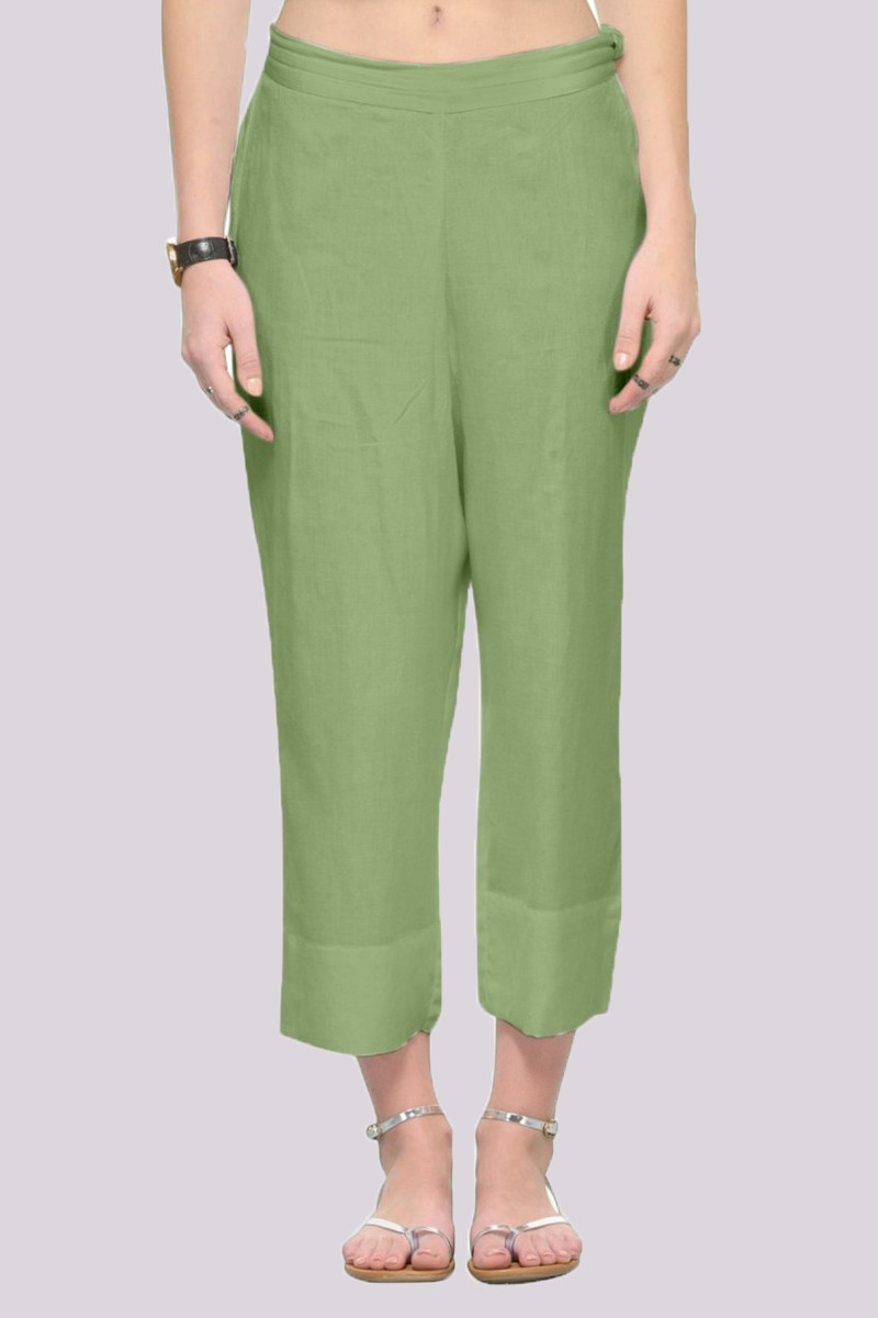 Olive Green Rayon Ankle Length Pant-33676