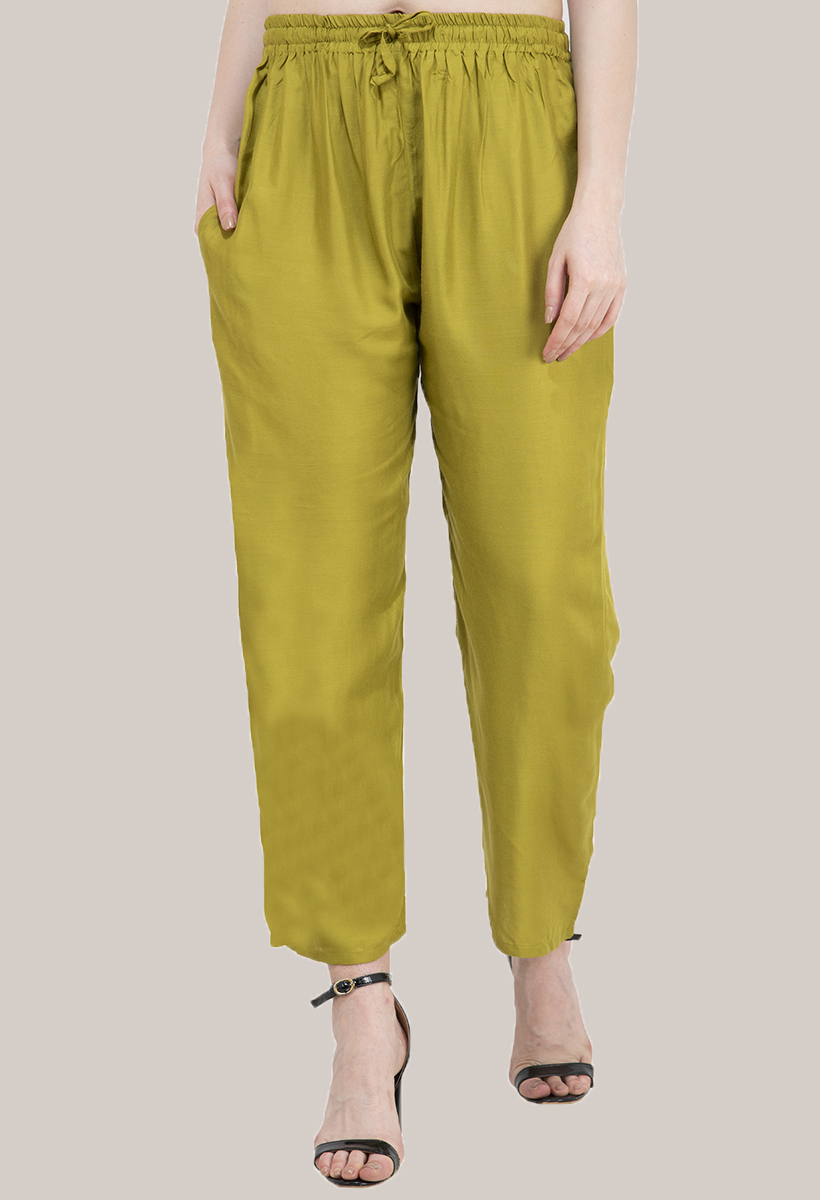 Olive Green Rayon Sweatpant-33479