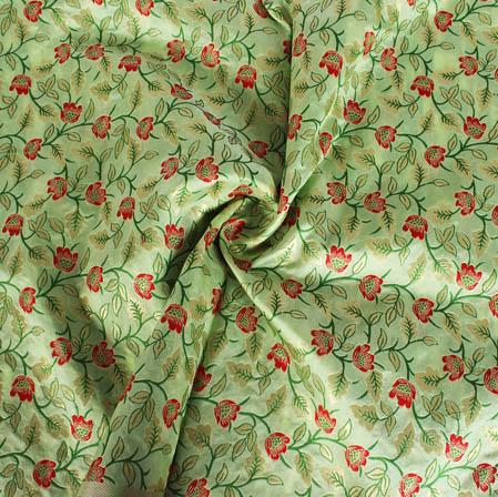 Olive Green Red and Golden Floral Banarasi Silk Fabric-9406