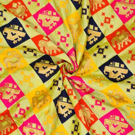 Olive-Green Red and Golden Sparrow Banarasi Silk Fabric-12591