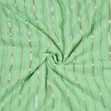 Olive Green Silver Sequin Georgette Embroidery Silk Fabric-18943