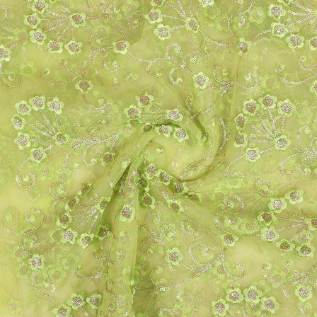 Olive Green Silver Star Embroidery Net Fabric-61003