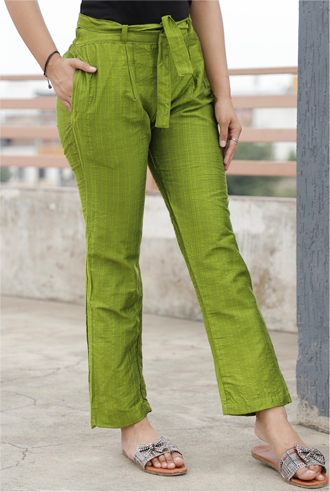 Olive Green South Cotton Plain Narrow Pant with Belt-33891