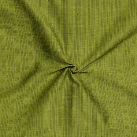 Olive Green Stripes Print South Cotton Fabric-15231