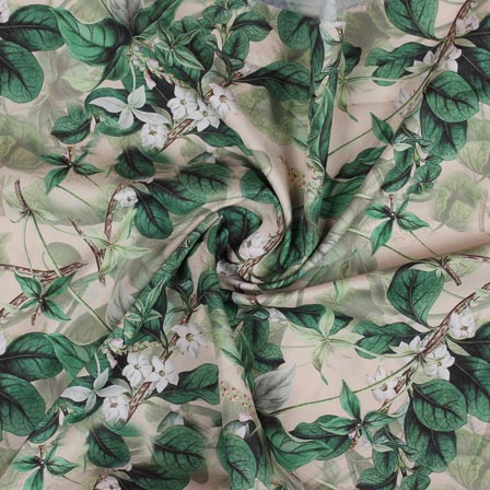 Olive Green White Flower Crepe Silk Fabric-18255