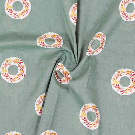 Olive Green White and Pink Block Print Rayon Fabric-14894